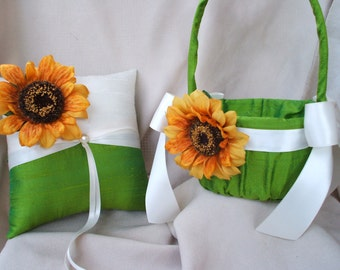 Sunflower Wedding Green and Ivory with Accent Pearl Wedding Ring Bearer Pillow and Flower Girl Basket
