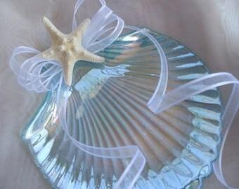 Seashell Sheer White Looped Bow Wedding Ring Bearer Pillow