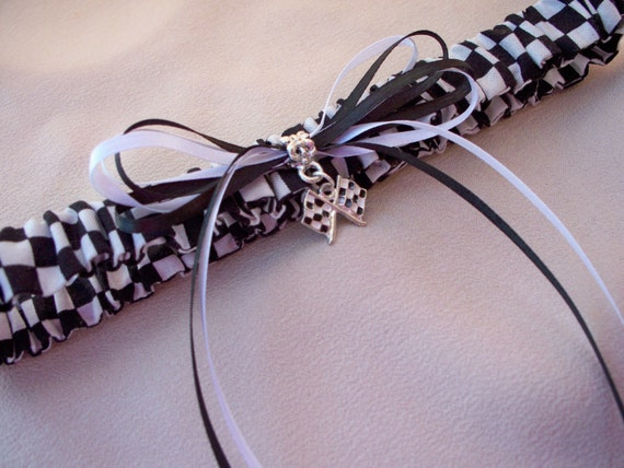 Nascar Fans here is a Checkered Flag Race Game is On Black White Flag Charm Accented Bridal Wedding Garter