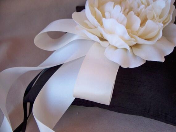 Black Ivory Wedding Ring Bearer Pillow Silk Peony Rose Flower Elegant Ribbon Wedding Ring Pillow