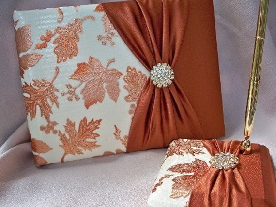 Autumn Fall Guest Book Set Falling Leaves Leaf Ivory Copper Gold Rhinestone Guest Book and Pen Set