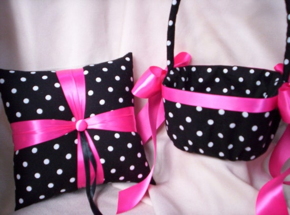 Pink and black flower girl baskets : Items similar to black white fuchsia hot pink polka dot