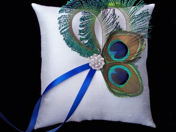 Peacock Feather Ring Bearer Pillow Ivory Rhinestone Accent Bridal Wedding Ring Bearer Pillow