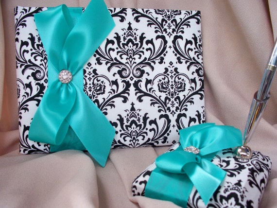Tiffany or Pool Blue Madison Black White Rhinestone Guest Book and Pen Set