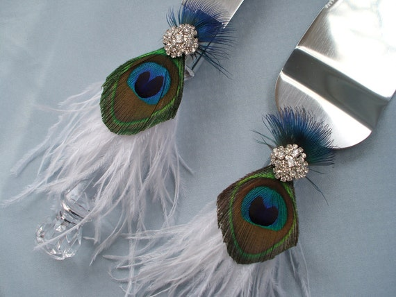 Peacock Feather Wedding Cake Serving Set Rhinestone Accent