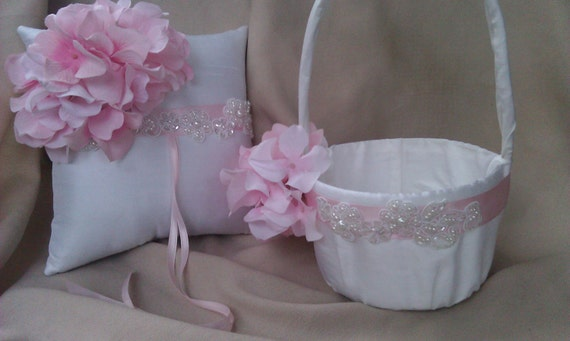 Elegant White or Ivory with Pink Hydrangea Accent Pearl Wedding Ring Bearer Pillow and Flower Girl Basket