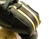 Black leather Skate Snout toe guards with Yellow Pivot stripes