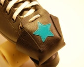 Black leather Skate Snout toe guards - With  Light Blue Jammer Stars