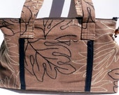 Original Handmade Brown Fabric Satchel Purse with Stitched Leaves