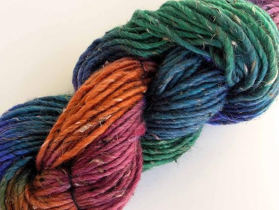 Hand Dyed Bulky Tweed Wool Yarn - Summertime