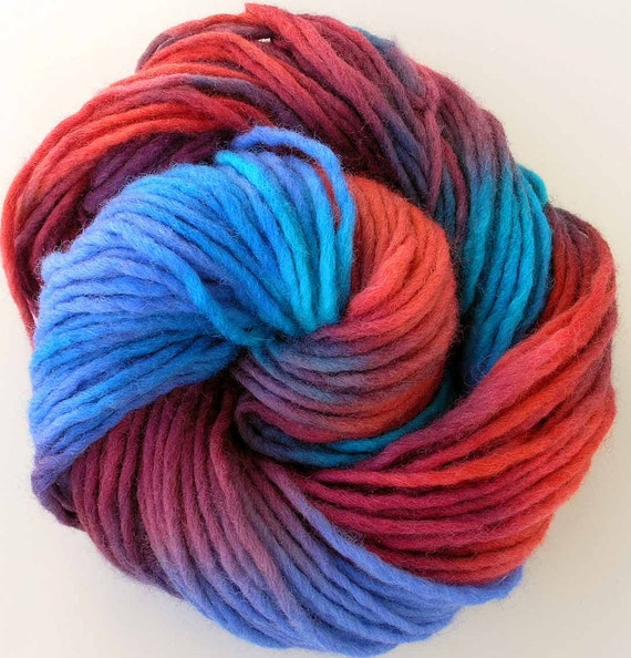 Hand Dyed Bulky Wool Roving Yarn - Seraphina