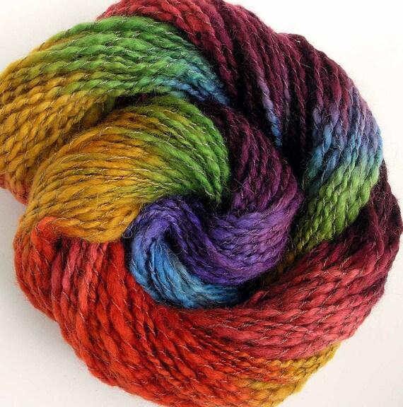 Handspun and Hand Dyed  BFL Wool Alpaca Worsted Yarn - Summer Rhapsody