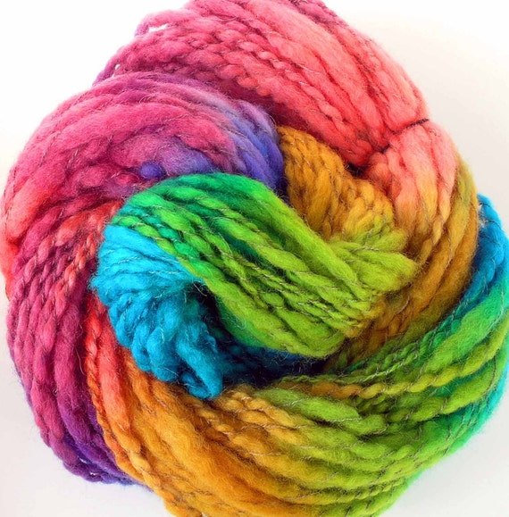 Handspun and Hand Dyed  BFL Wool Alpaca Bulky Yarn 3 Skeins 265 yds - Spring Rainbows
