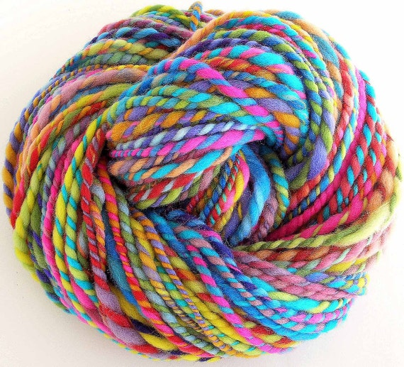 Handspun and Hand Dyed Merino Wool Bulky Yarn - Color Confetti
