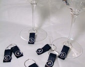 RESERVED LISTING FOR AMAYLEE----- Wine Glass Charms made from recycled leather and wooden typewriter letters