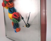 Ruffle Felt Cascade Clock (recycled tin box)