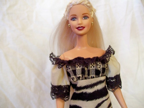 Barbie Doll Clothes, Gathered Top Dress , Black Lace and Zebra Print