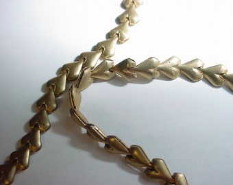 Puffy little hearts - 7 to 8 inch chain - vintage brass - SALE