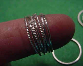 Stack of 5 various Super Skinny Sterling Silver Stacker Rings, Spacer, knuckle, mid finger  - hand made in one custom size -- set of 5