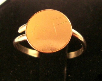 Ring blank gold filled with 3/8 inch glue pads 14k/20 -  gFav fav - Adjustable or custom SIZED