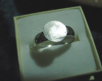 ring blank recycled 925 sterling silver 1 wide solid sized  with 1/2 inch glue pad - std - custom size