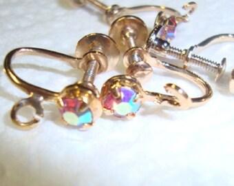 Ear Screw back earring findings Vintage gold plated w Swarovski vitrail crystal rhinestones - loops - 12 pair Screw Back Earring Clips ab