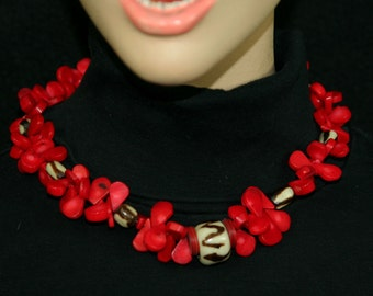 Hot Red Coral and African bone necklace.