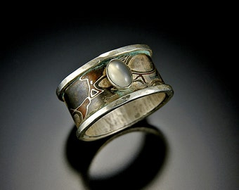 Mokume Gane with Moonstone Ring