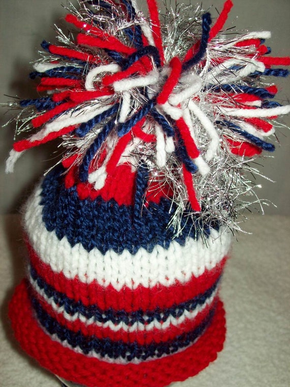 Baby Hat Red White Blue July 4th Sparkler Roll Brim Stripe Beanie HandKnit Newborn to 1YR Patriotic American Flag USA
