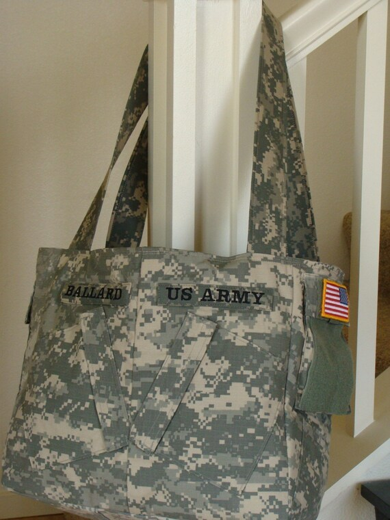 Ex-Large Lia Military Army Purse Diaper Bag made from ACU's with custom Embrodiery