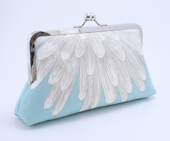 Thank You Sale - Silver Petals Clutch - lined in silk