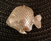 Thai, Karen Hill Tribe Sterling Silver Artisan Bead , Large Stamped Fish Bead - Qty. 1