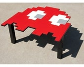 Pacman Ghost Table LARGE- Coffee Table, Kitchen Table, Kids Table, Desk, White, Black, Red, Pink, Teal, Blue, Orange, Video Game, 80s, Pixel