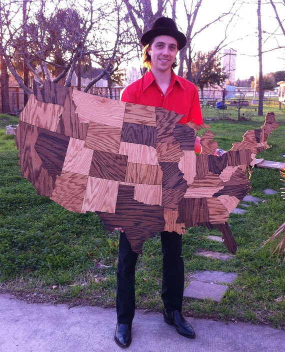 HUGE Wood USA Map Wall Decoration Sculpture Rustic - Us map puzzle wood