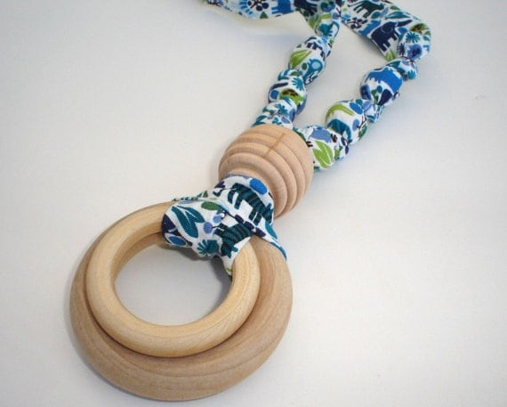 Cotton and All Natural Maple Wooden Teething Necklace for Mom and Baby in TEENY TINY ZOO