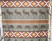 Super Soft Hand-Tied Fleece Blanket - Moose