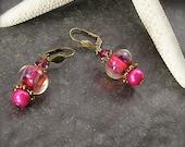Eternal Flame, Lampwork bead earrings, pink earrings, magenta earrings, lever back earrings, Crystal and pearl earrings, by Xanna