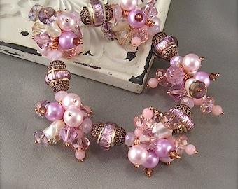 Candy Kisses, Stretch bracelet, Lampwork Bracelet, Pink bracelet, Stretch charm bracelet, cluster charm bracelet, Copper bracelet, by Xanna