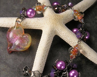 My Love, Lampwork Heart, Charm Bracelet, Dichroic glass, purple, peach, gunmetal, Cluster Charm bracelet, designed by Xanna