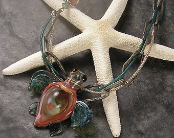Coral, Lampwork Turtle pendant, turtle necklace, Asymmetrical Necklace, Teal, Coral, peach, Honu, chunky chain, by Xanna