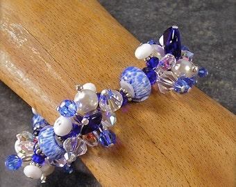 Sailor Boy, Lampwork Stretch Bracelet, chunky charm bracelet, blue and white bracelet, Nautical bracelet, crystal and pearl bracelet