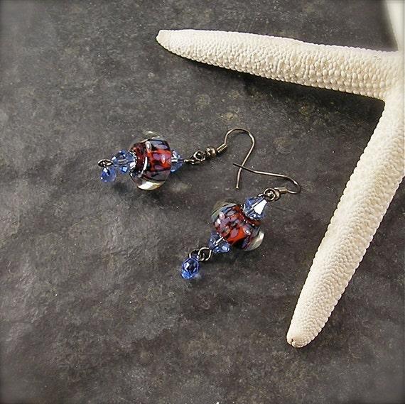 Blue Jeans Baby,  Lampwork Earrings, Tiger stripe earrings, Animal print earrings, black blue and orange earrings, by Xanna's Jewelry Box