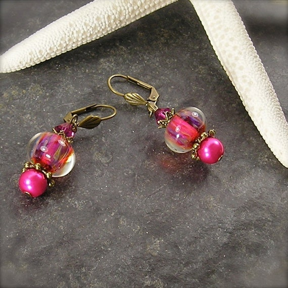 Eternal Flame, Lampwork bead earrings, pink earrings, magenta earrings, lever back earrings, Crystal and pearl earrings, by Xanna