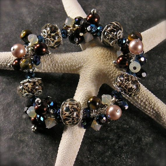 Wild and Untamed, Lampwork beads, Stretch bracelet, Chunky charm Bracelet, leopard print, Cha cha bracelet, blue, chocolate brown,