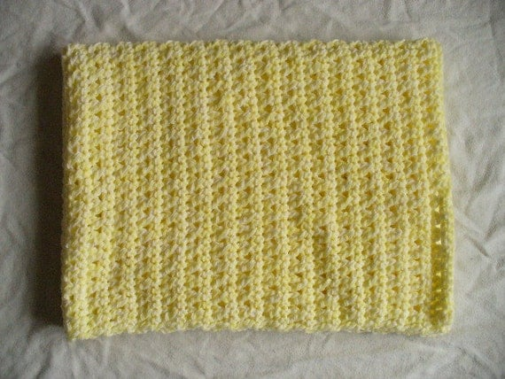 SALE - Pretty Yellow Crocheted Baby Blanket