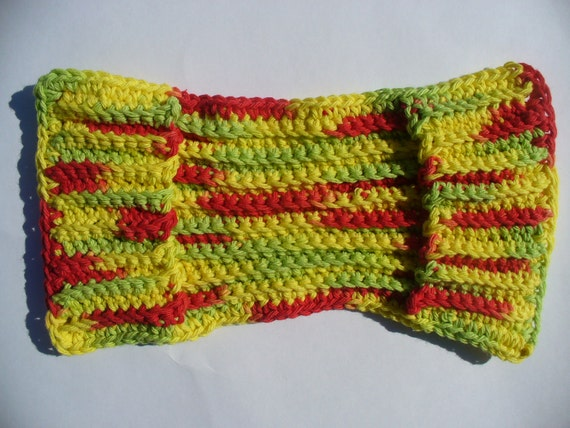 Brick Red, Green & Yellow Crocheted Cotton Swiffer Cover
