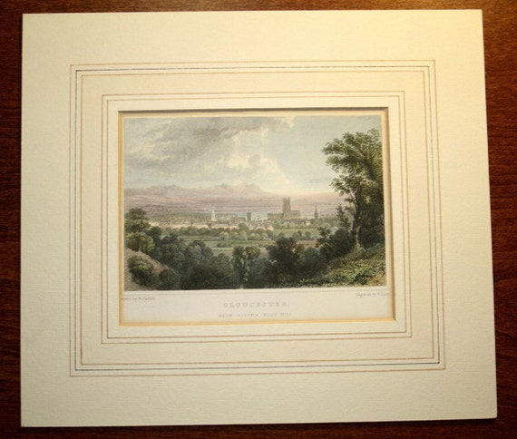 Vintage Hand Coloued Engraved Printing - Glouster from Robin's wood Hill, London.