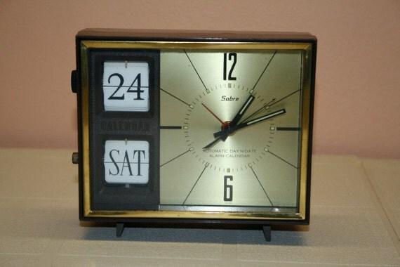 Vintage Sabre Automatic Day-N-Date Alarm Calendar Clock