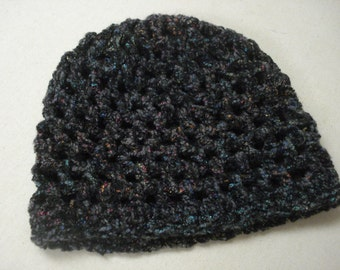 Dark multicolor crocheted hat