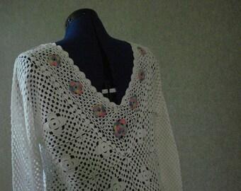 White crocheted pullover